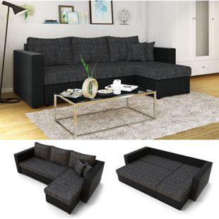 Vicco Ecksofa mit Schlaffunktion Sofa Couch Schlafsofa Bettfunktion Taschenfederkern Grau Schwarz - Bild 1
