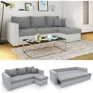 Vicco Ecksofa mit Schlaffunktion Sofa Couch Schlafsofa Bettfunktion Taschenfederkern Grau/Grau - Bild 1