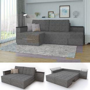 Ecksofa mit Schlaffunktion 240 x 160 cm Grau - Eckcouch Sofa Couch Schlafsofa Taschenfederkern - Bild 1
