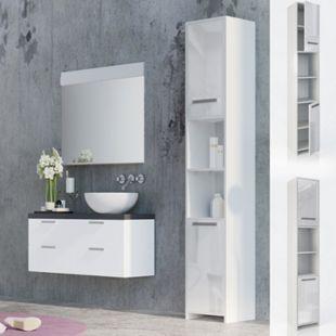 VICCO Badschrank KIKO Weiß Hochglanz - Badezimmerschrank Hochschrank Badregal - Bild 1