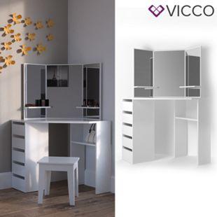 Vicco Eckschminktisch Arielle Kosmetiktisch Frisiertisch Schminktisch Weiß - Bild 1