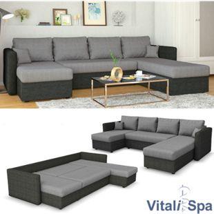 VICCO XXL Ecksofa mit Schlaffunktion Anthrazit - Wohnlandschaft Schlafsofa Sofa Taschenfederkern Couch - Bild 1