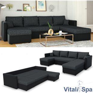 VICCO XXL Ecksofa mit Schlaffunktion Schwarz - Couch Ecksofa Schlafsofa Taschenfederkern Polstereck - Bild 1
