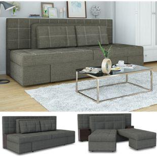 VICCO Schlafsofa mit Bettfunktion 235 x 105 cm Grau Dreisitzer Couch Taschenfederkern Schlafcouch - Bild 1