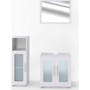 Vicco Badmöbel Set Rayk Badezimmer Spiegel Kommode Unterschrank verglast Weiß - Bild 1
