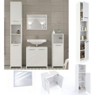 Vicco Badmöbel Set Kiko Badezimmer Spiegel Kommode Unterschrank Weiß - Bild 1