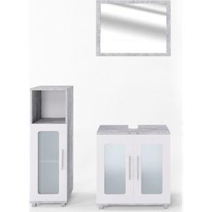 Vicco Badmöbel Set Rayk Badezimmer Spiegel Kommode Unterschrank verglas Beton - Bild 1