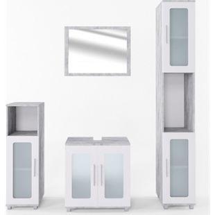 Vicco Badmöbel Set Rayk Badezimmer Spiegel Kommode Unterschrank verglast  Beton - Bild 1