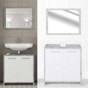 Vicco Badmöbel Set Kiko Badezimmer Spiegel Kommode Unterschrank  Beton - Bild 1