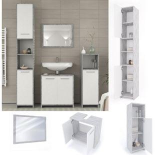 Vicco Badmöbel Set Kiko Badezimmer Spiegel Kommode Unterschrank Weiß / Beton - Bild 1