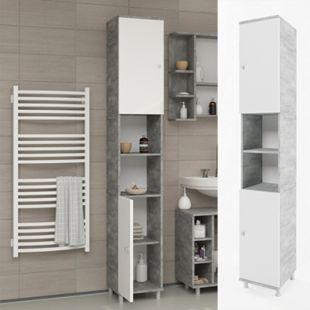 VICCO Badschrank FYNN Weiß / Grau Beton - Badezimmerschrank Hochschrank Badregal - Bild 1