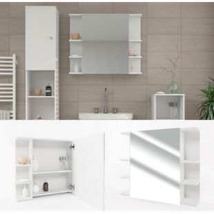 VICCO Spiegelschrank FYNN 80 x 64 cm Weiß - Spiegel Badspiegel Bad Wandspiegel - Bild 1