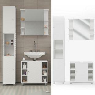 Vicco Badmöbel Set Fynn Badezimmer Spiegel Kommode Unterschrank Bad Weiß - Bild 1