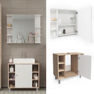 Vicco Badmöbel Set Fynn Badezimmer Spiegel Kommode Unterschrank Sonoma - Bild 1