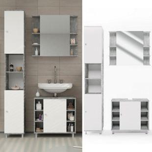 Vicco Badmöbel Set Fynn Badezimmer Spiegel Kommode Unterschrank Grau Beton - Bild 1