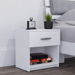Vicco Nachtschrank Pepe Nachttisch Beistellschrank Schlafzimmer Weiß - Bild 1