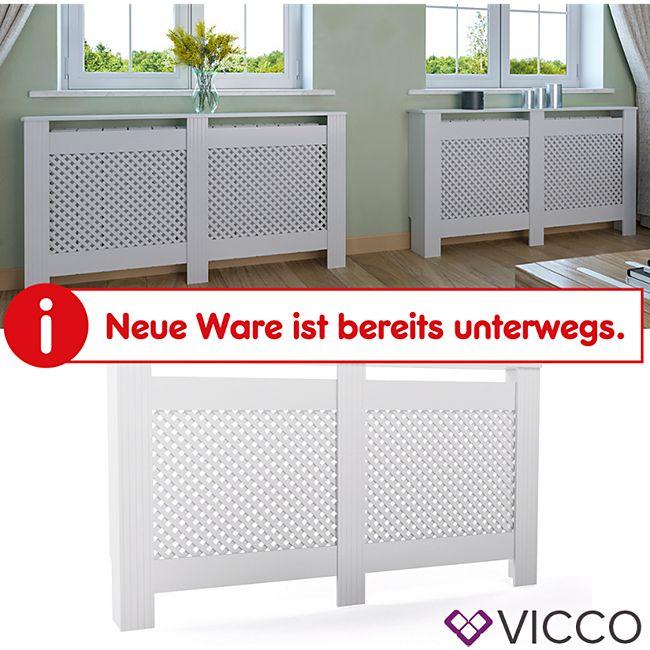 Vicco Heizkörperverkleidung Landhaus Heizungsverkleidung Weiß Waben 152 cm - Bild 1