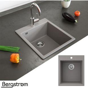 Granit Spüle Küchenspüle Einbauspüle Spülbecken Küche + Siphon Grau - Bild 1