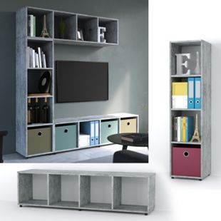 VICCO Raumteiler LUDUS 4 Fächer Grau Beton - Standregal Sideboard Bücherregal - Bild 1
