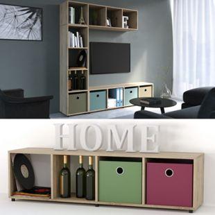 VICCO Raumteiler Ludus 4 Fächer Sonoma 144 x 36 cm - Standregal Hängeregal Regal TV Lowboard - Bild 1