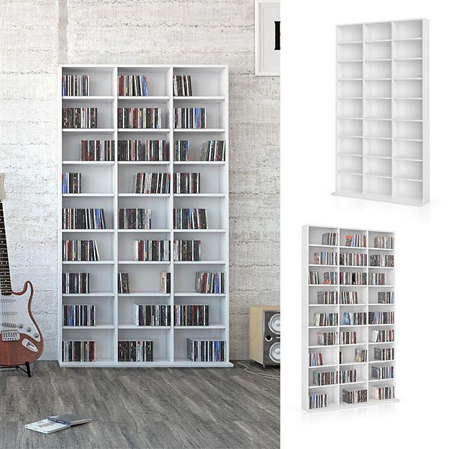 REGAL Standregal Weiss Medienregal 27 Fächer für DVD CD Blu