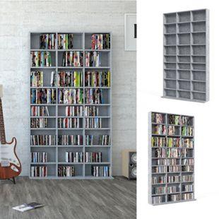 Vicco Wandregal CD DVD Regal Standregal Medienregal Regalwand Bücherregal  Beton - Bild 1