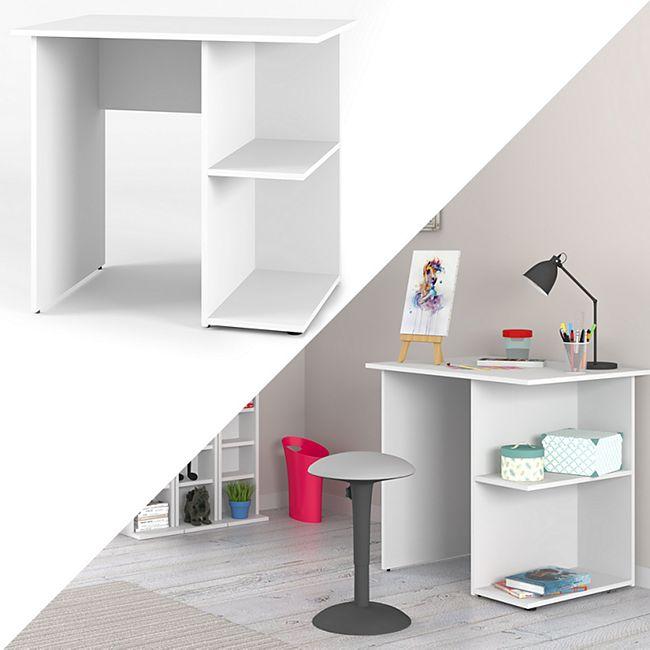 Vicco Schreibtisch Simple Schreibtisch Arbeitstisch Regal PC Tisch Weiß - Bild 1