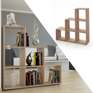 VICCO Treppenregal 6 Fächer Eiche Sonoma - Raumteiler Raumtrenner Bücherregal - Bild 1