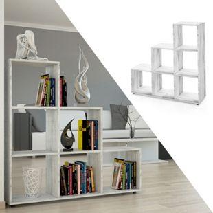 VICCO Treppenregal 6 Fächer Grau Beton - Raumteiler Stufe Bücherregal Aktenregal - Bild 1
