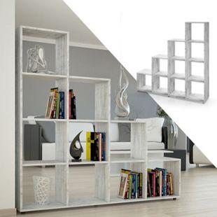 VICCO Treppenregal 10 Fächer Grau Beton - Raumteiler Stufenregal Bücherregal - Bild 1
