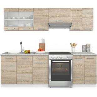 Vicco Küche Raul Küchenzeile Küchenblock Einbauküche 240 cm Fronten Wählbar - Bild 1