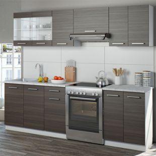Vicco Küche Raul Küchenzeile Küchenblock Einbauküche 240 cm Edelgrau - Bild 1
