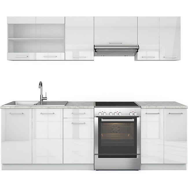 887507f552dd4b Vicco Küche Raul Küchenzeile Küchenblock Einbauküche 240 cm Weiß Hochglanz  online kaufen