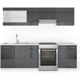Vicco Küche Raul Küchenzeile Küchenblock Einbauküche 240 cm Anthrazit Hochglanz - Bild 1