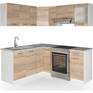 Vicco Küche Küchenzeile L-Form Küchenblock Einbauküche Komplettküche 167x187cm Sonoma - Bild 1