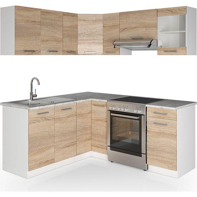 Vicco Küche Küchenzeile L-Form Küchenblock Einbauküche Komplettküche ...