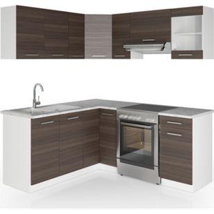 Vicco Küche Küchenzeile L-Form Küchenblock Einbauküche Komplettküche 167x187cm Anthrazit - Bild 1