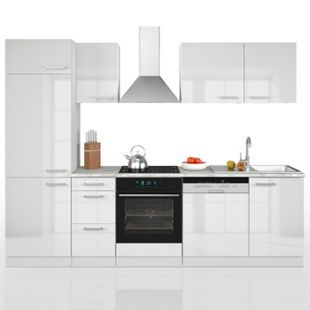 Vicco Küche 270 cm Küchenzeile Küchenblock Einbauküche Weiß Hochglanz - Bild 1