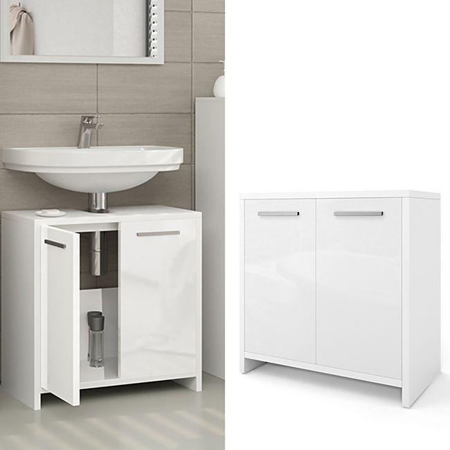 VICCO Waschbeckenunterschrank KIKO Weiß hochglanz Unterschrank Badschrank - Bild 1