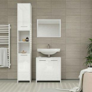 Vicco Badmöbel Set Kiko Badezimmer Spiegel Kommode Unterschrank Weiß /  Weiß Hochglanz - Bild 1