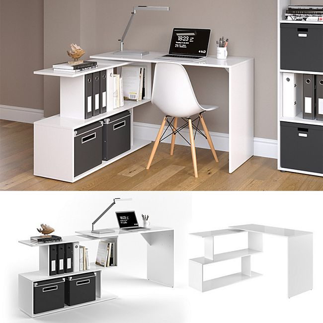 Vicco Eckschreibtisch Levia PC Tisch Arbeitstisch Computer Büro Weiß Hochglanz - Bild 1