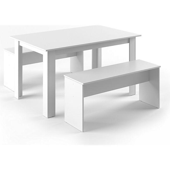 Vicco Tischgruppe Sitzgruppe Essgruppe Holztisch Esstisch Holz Tisch  Weiß - Bild 1