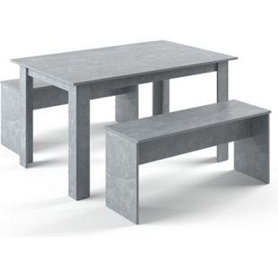 Vicco Tischgruppe Sitzgruppe Essgruppe Holztisch Esstisch Holz Tisch  Beton - Bild 1