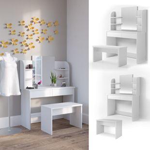 Vicco Schminktisch Charlotte Frisiertisch Kommode Frisierkommode Spiegel Weiß inklusive Bank - Bild 1