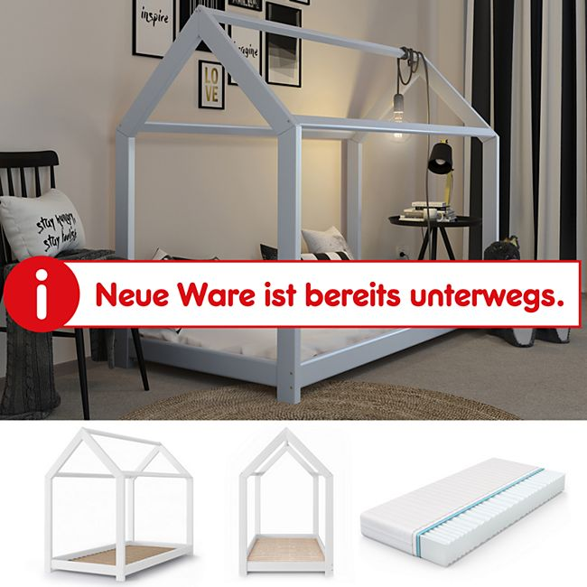 VitaliSpa Kinderbett Kinderhaus Bett Holz Haus Schlafen Spielbett Hausbett 90x200  + Matratze - Bild 1