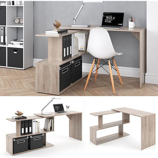 Vicco Eckschreibtisch Levia PC Tisch Arbeitstisch Computer Büro Sonoma - Bild 1