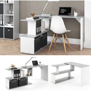 Vicco Eckschreibtisch Levia PC Tisch Arbeitstisch Computer Büro  Beton - Bild 1