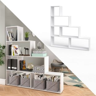 Vicco Treppenregal Asym Raumteiler Bücherregal Regal Wandregal 6 Fächer Weiß - Bild 1