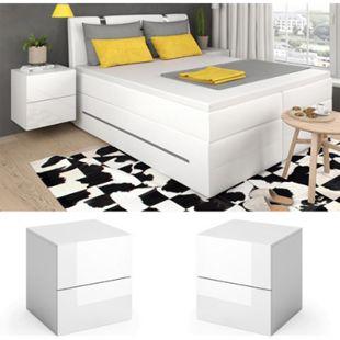Vicco Nachttisch Charles Nachtschrank Kommode Schlafzimmer Weiß - Bild 1