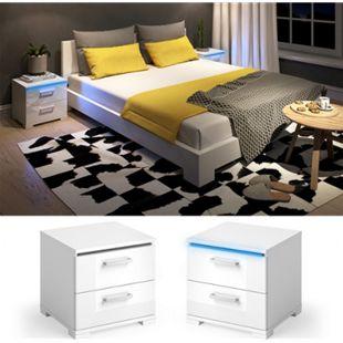 Vicco Nachtschrank Picot LED Nachttisch Kommode Schlafzimmer Weiß Hochglanz - Bild 1